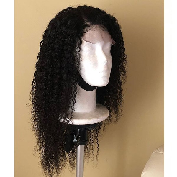 Cheap Soft Swiss Lace Wigs 1B# 180% Long Black Afro Kinky Curly Synthetic Wigs Heat Resistant Gluelese Lace Front Wigs for Black Women
