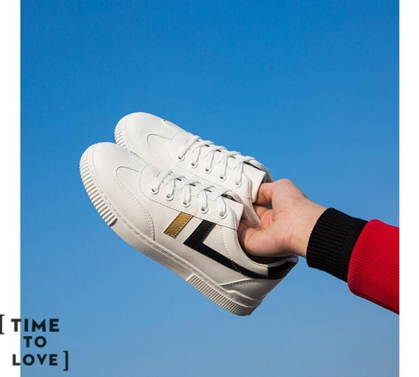 New Spring and Summer With White Shoes Men Flat Leather Canvas Shoes Female White Board Casual Shoes Female