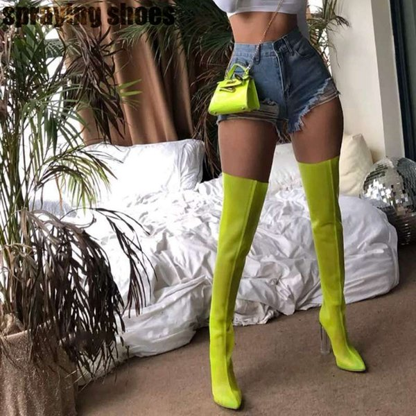 Fashion Neon Sandals Women Mesh Thigh High Boots Transparent Chunky High Heels Summer Sandals Long Boots Green/Orange/White/Gray