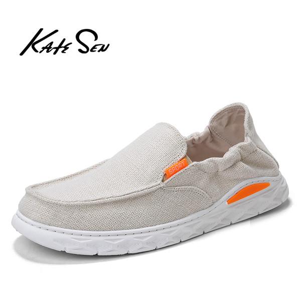 KATESEN 2019 sapatos masculinos de lona de verão respirável sapatos de condução casuais deslizamento fácil de usar mocassins grandes e macios tamanho grande dos homens