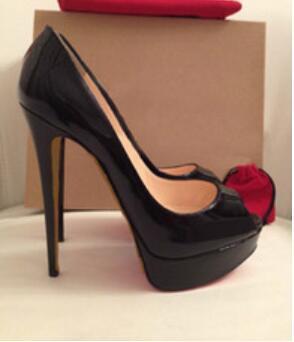 14 CM Saltos de Marca Sapatos de Plataforma Das Mulheres de Salto Alto Bombas Peep Toe Sapatos De Casamento De Couro Vermelho de Salto Alto Tamanho Grande 42