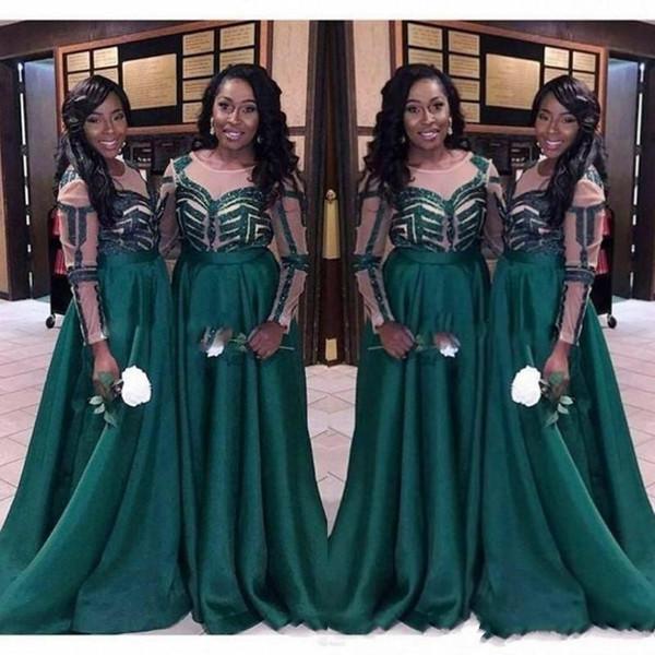 2020 Elegante Hunter africano lunghi abiti da sposa a buon mercato con maniche gioiello collo increspata raso Paese damigelle d'onore di promenade del vestito da sera del partito