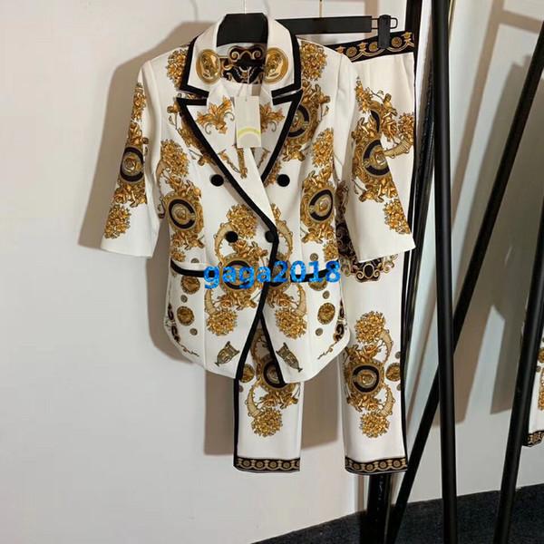high end women girls pants set blazer jacket peak lapel buttons geometric print short sleeves tops legging trousers fashion design suit