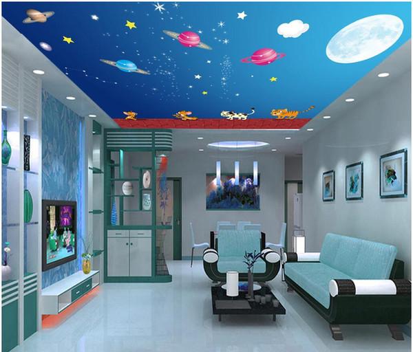 3d ceiling murals wallpaper custom photo Cartoon starry planet painting living room home decor 3d wall murals wallpaper for walls 3 d