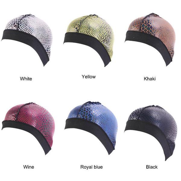 Crocodile Musulman Élastique Imprimer Coton Turban Chapeaux pour Femmes Cancer Chemo Bonnets Chapeau Headwrap Chapeaux Accessoires De Perte De Cheveux