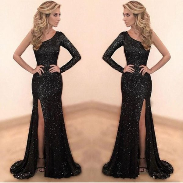 Sparkly Black Sequined Prom Dresses 2019 Custom Made One Shoulder Mermaid Long Party Dress Sexy Side Slit Evening Gowns robe de soiree