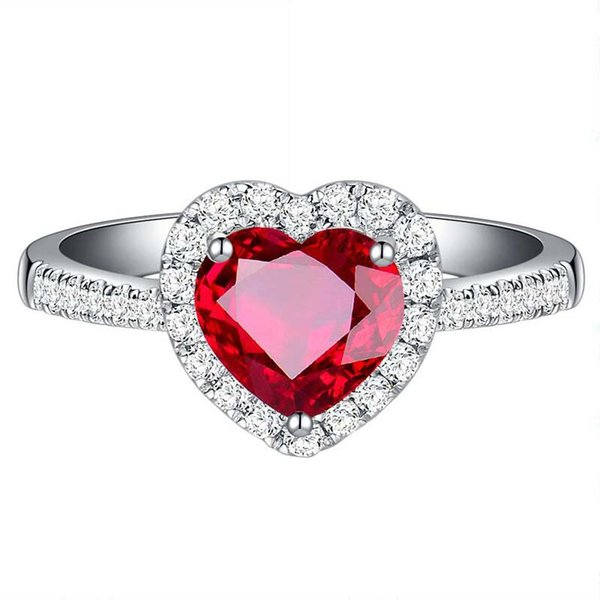Heart Cut Lab-created Ruby Adjustable Size Open Rings Prong Setting Gemstone Wedding Ring for Beautifu Bride Free shipping