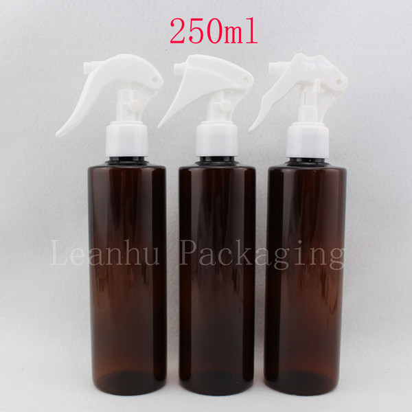 20 X 250ml empty plastic perfume bottle, 250cc amber water pumps used for flowers,makeup PET bottle with trigger sprayer pump