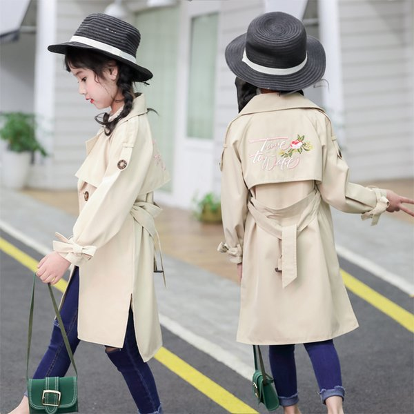 Baby Girls Clothing Spring Coat Embroidered Khaki Leisure Korean Flowers Coat Free Shipping Baby Lovely Baby Girl Clothes
