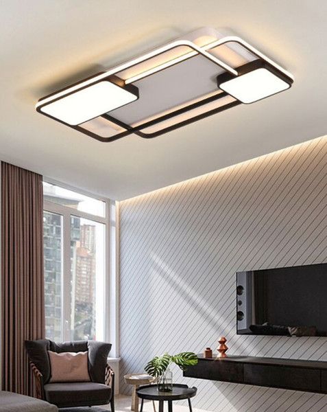 Les nouveaux plafonniers LED modernes carrés créatifs chambre salon Restaurant Accueil aluminium intérieur plafonnier LED AC90V-260V MYY
