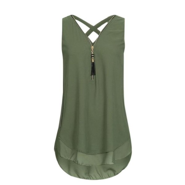2019 New Fashion Solid Women Loose Sleeveless Tank Top Cross Back Hem Layed Zipper V-Neck Hollow Out T Shirts Tops