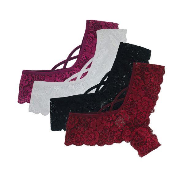 Sexy 4PC Panties Women Flowers Low Waist Underwear G-string Lingerie Thong Briefs Ladies Panty ropa interior femenina 18NOV29