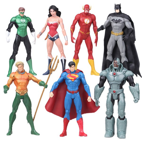 oys Hobbies Action Toy Figures DC Comics Superheroes Toys 7pcs/set Superman Batman Wonder Woman The Flash Green Lantern Aquaman Cyborg PV...