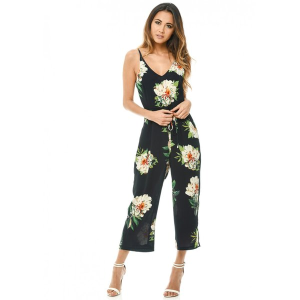 2019 Sexy Women Strappy Jumpsuit Floral Print V-Neck Bodysuit Female Backless Belted Wide Leg Pants Boho Playsuit Summer Rompers