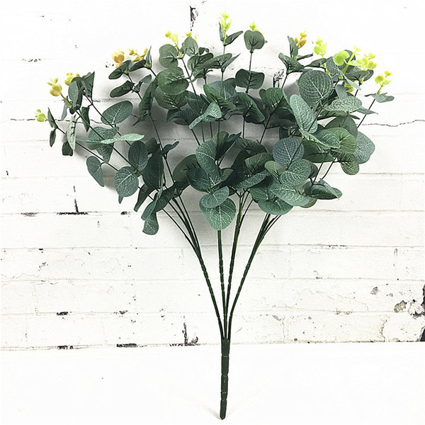 16 Heads Eucalyptus Bouquet Tree Branches Silk Artificial Leaves Home Decoration DIY Flower Arrangment Plant Faux Foliage Wreath