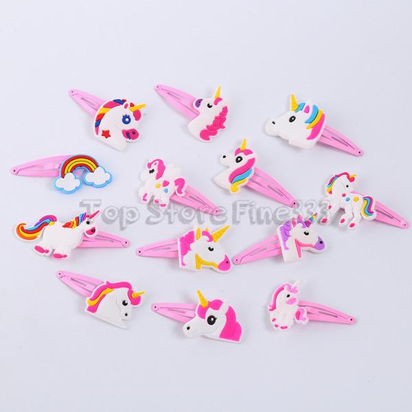 Kids Unique Metal Barrettes Hair Clip 19 Models Multi-style Rainbow Horse Bracelet Accessories PVC Cartoon Barrettes
