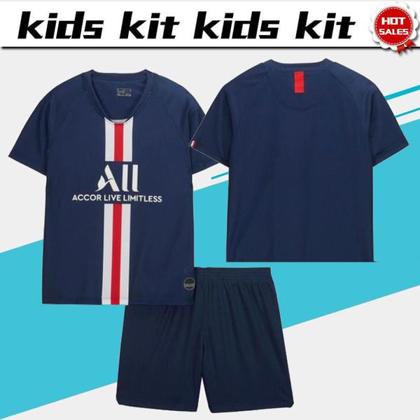 Kids Kit #7 MBAPPE #10 NEYMAR JR Home 2019 Boys soccer Jerseys 19/20 Child Suit Football uniforms Customized jersey+shorts