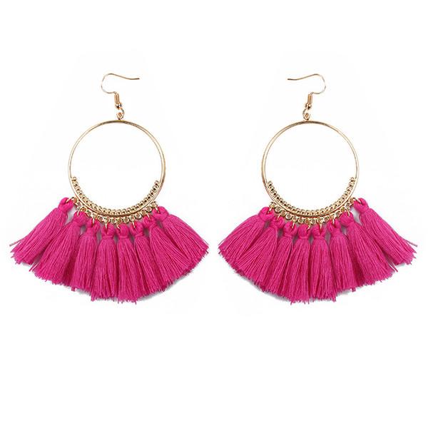 Grandes anéis de brincos de borla; A criatividade da moda exagerou os acessórios na Europa e nos Estados Unidos; Bohemia Fugu orelha jóias wholesa