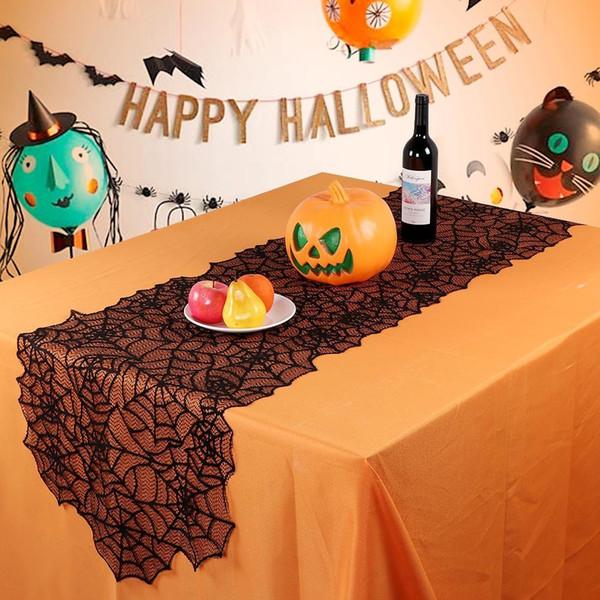 Pizzo Ragno decorazione di Halloween nero Web Tovaglia Camino Sciarpa creativo Runner Partito copertura tavolo Decor T2I5452