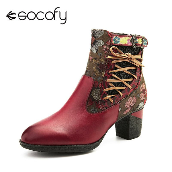 SOCOFY Retro Boots Printed Sun Flower Lace Up Zipper Soft Ankle Boots Elegant Shoes Women Botines Mujer 2019 New