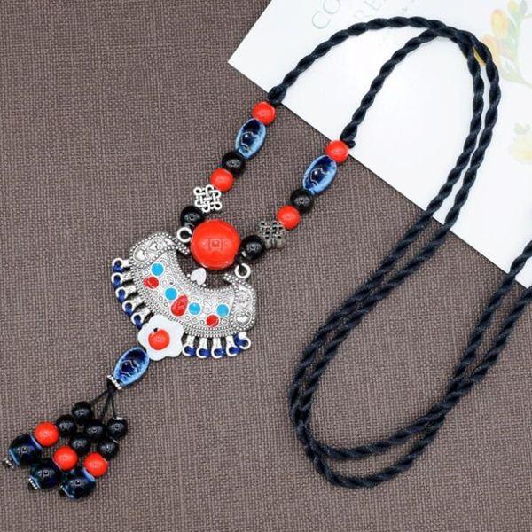 Sıcak satış kadınlar sonbahar kazak zinciri seramik etnik stil vintage ayarlanabilir uzun kolye el örgü orijinal aksesuarları kolye