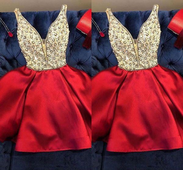 Élégant Perlée Au Genou Longueur Robes De Cocktail Courtes Robes De Soirée 2019 Robes De Soirée Tenue de cérémonie robes de cortos robes de cocktail