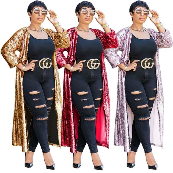 Más el tamaño de lentejuelas Cardigan diseñador para mujer prendas de vestir exteriores suelta media manga Color ligero para mujer del cabo ropa femenina