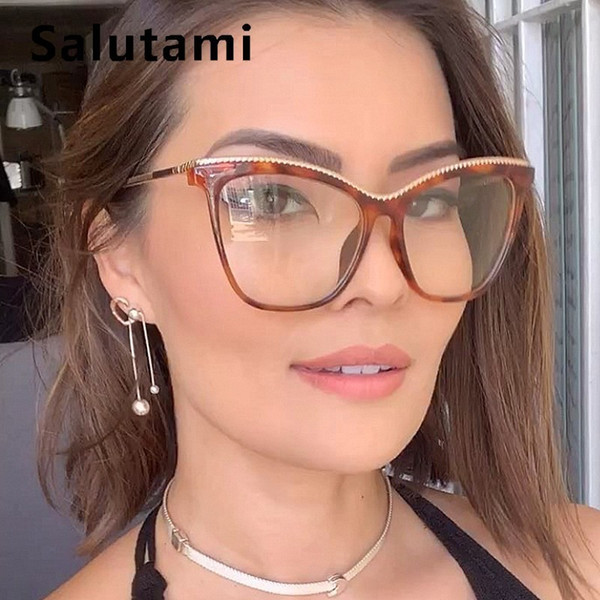Lega catena Telaio gatto libero di vetro dell'occhio per le donne Vinatge Oversize occhiali da vista femminile del computer miopia Occhiali trasparente