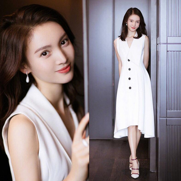 Jinchen estrella con el párrafo 2019 verano nuevo traje de mujer cuello blanco vestido de gasa delgado vestido