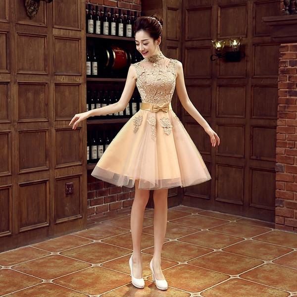 Vestidos de noche dorados hasta la rodilla Apliques de encaje de tul Vestidos de baile cortos baratos Ropa de noche Cuello alto Playa vestido de novia Vestidos de noche