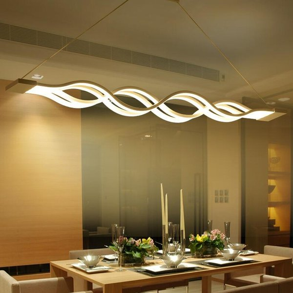 Modern LED Creative Trumpet Wave Acrylic Dimmable Chandelier Dining Room Study Room Lamp Office & Commercial Place Chandeliers 110-240V