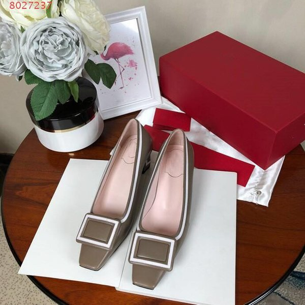 New arrive of flat bottom professional dress shoes leather flat top with buckle women\'s simple low-heel sole high 4.5cm formal single s