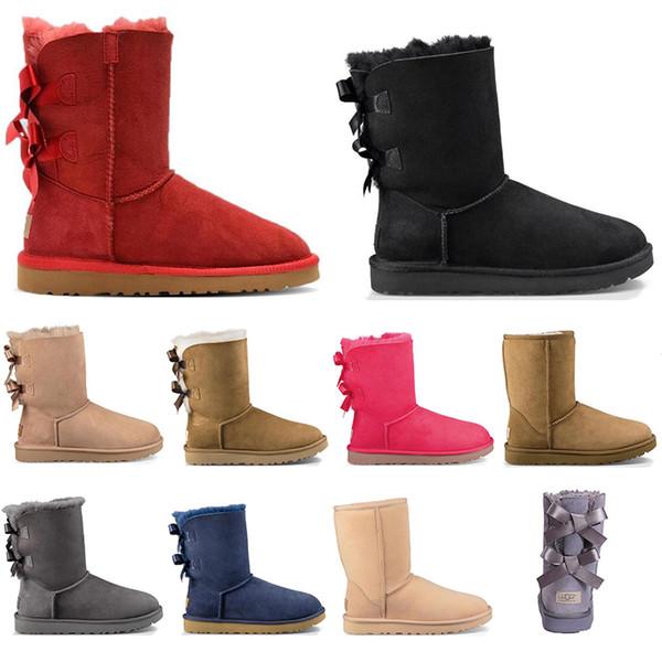 UGG con calcetines libres de las mujeres clásico cargadores de la nieve del tobillo Largo arco corto botas de piel de diseño para el Negro Castaño invierno de arranque zapatos