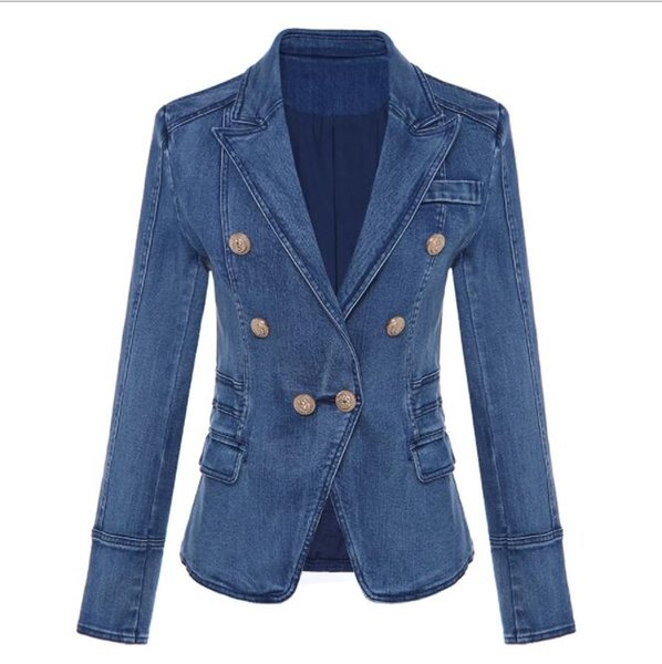 Spring Antumn Outerwear Women's Blazers Lion Head Golden Button Double-breasted Washing Denim Suits