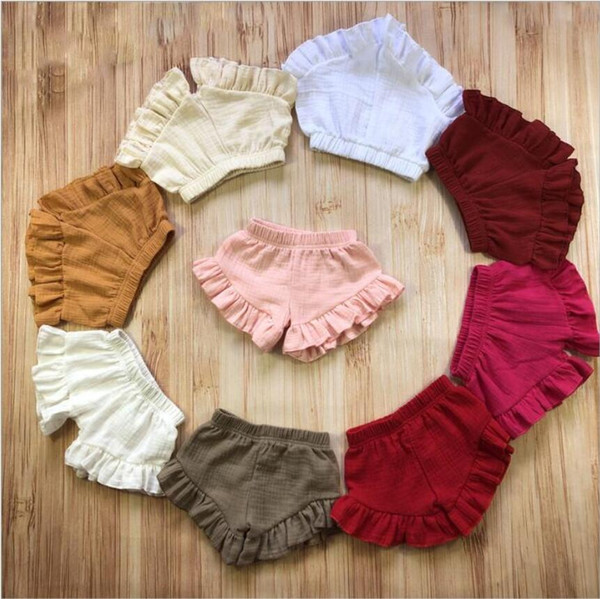Baby Shorts Bread PP Pants Triangle Shorts Casual Briefs Girls Summer Bloomers Infant Cotton Linen Ruffle Shorts Newborn Underpants A5938