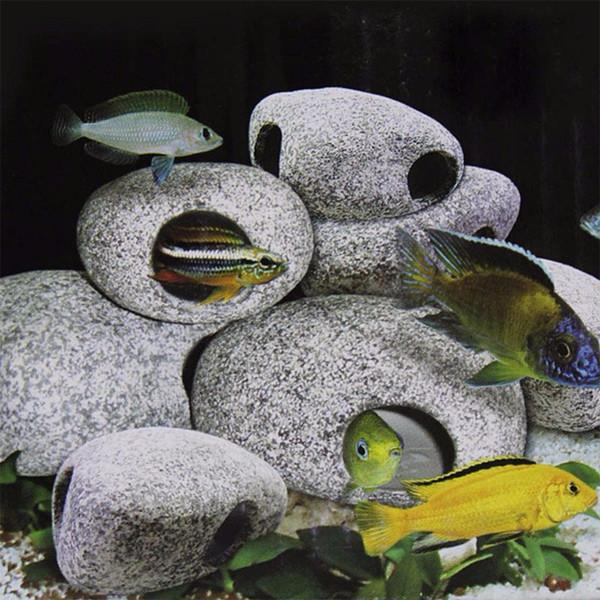 Aquarium Fish Tank Pond Ornement Décoration Crevette Élevage Rock Cave Céramique Pierres 1 PCS Cichlid Stone