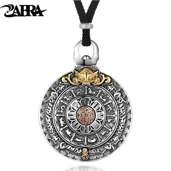 Zabra Religion Authentic 925 Sterling Silver Round Necklace Pendant Men Chinese Zodiac Signs Vintage Pendants Jewelry For Male J190519