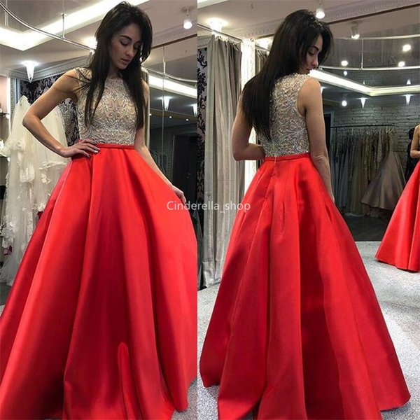 2019 Luxury Red Prom Dresses Jewel Sleeveless Sequins Beaded See Through A-Line Graduation Party Gowns Floor Length vestidos de fiesta