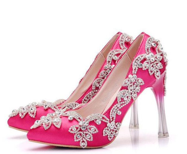 Amazing Crystal Hot Pink Satin Wedding Party Shoes High Heels 10 5