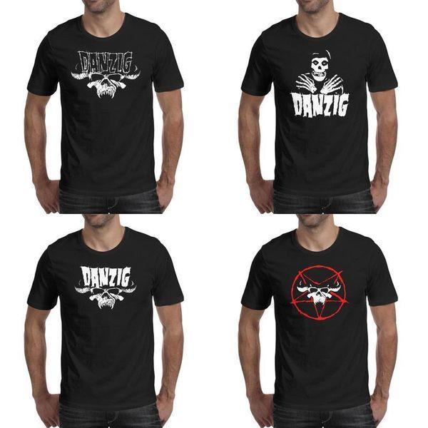 Danzig Schädel Band Design Kunst schwarz Herren T-Shirts drucken cool t Superheld Champion sportlich Shirt Logo Schädel weiß Shantou American