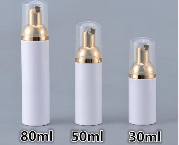 30/50 / 80ml bottiglie di schiuma di schiuma di plastica del sapone della bottiglia di schiumatura dispenser liquido schiuma bottiglie di schiuma di imbottigliamento di lozione della lozione con la pompa d'oro