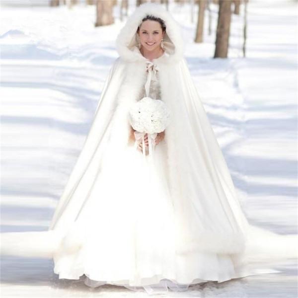 2019 Barato Elegante Branco Marfim Quente Nupcial Capa De Pele De Inverno Mulheres Jaqueta Nupcial Até O Chão Casacos Longo Casaco de Festa de Casamento AL01