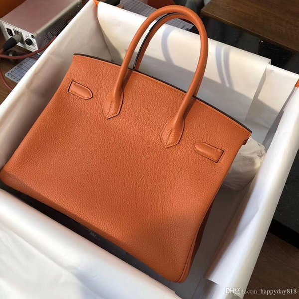 Free Shipping Fashion Designer Women S Handbag Bag Orange Real Calfskin Leather Shoulder Bag Totes Gold Hardware 35cm New