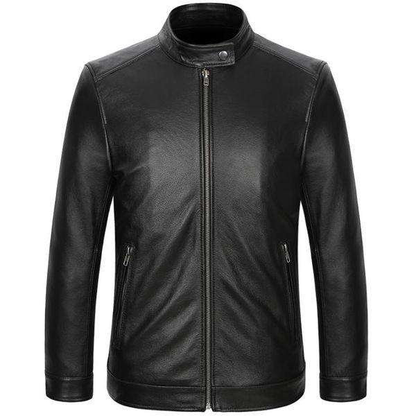 Erkek Deri Ceket Biker Motosiklet Gerçek Deri Ceket Siyah Slim Fit Dış Giyim Ceketler Hakiki İnek Deri