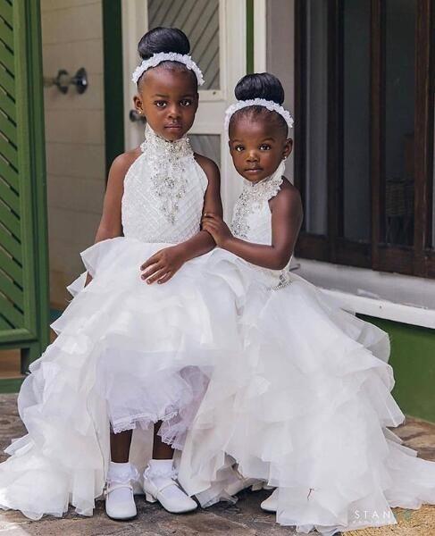 Cristaux Perlés Salut-Lo Fleur Fille Robes Organza Halter Petite Fille Robes De Mariée Vintage Communion Pageant Robes Robes F78