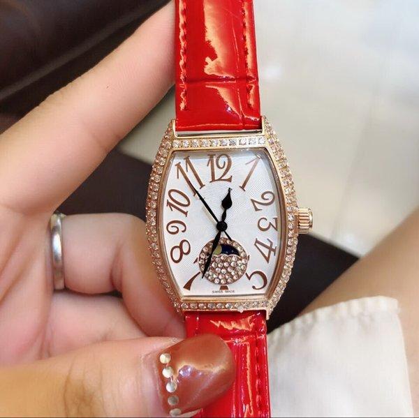 CINTO VERMELHO diamante BEZEL Todo o trabalho de Alta qualidade CHINA GD QUARTZO esporte 32 MM x 43 MM CASE mulheres assistem novo aço Inoxidável relógios das mulheres