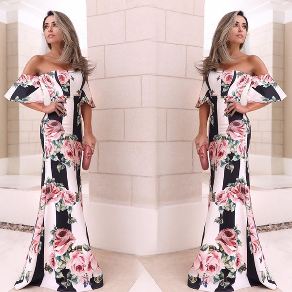 2019 Off Shoulder Printed Rose Cheap Party Dresses Floor Length Prom Gown Women Even Wear WY2487