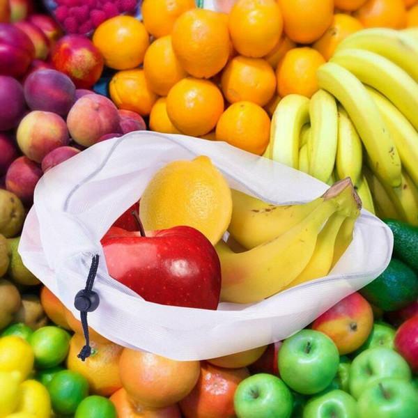 5Pcs Reusable Produce Bags Colored Rope Mesh Vegetable Fruit Toys Storage Pouch