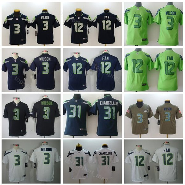 wholesale dealer 39c46 cf6a8 2019 Youth Seattle Seahawks Jerseys Children Football 12 12th Fan 3 Russell  Wilson 31 Kam Chancellor Kids Jersey White Green Navy Blue From ...
