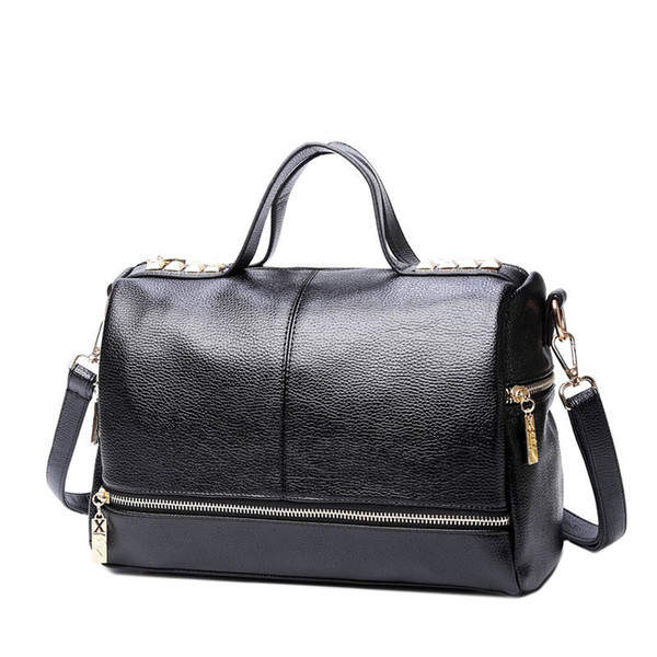 good quality New Arrival Femal Handbag Retro Motorcycle Messenger Bag Rivet Leather Laptop Tote Bag Women Shoulder Bag